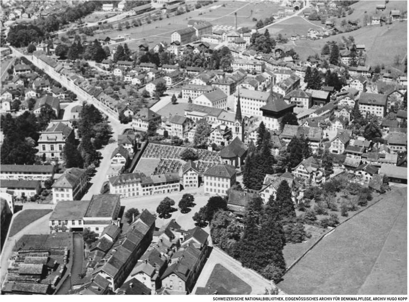 Ennenda Luftaufnahme ca. 1950