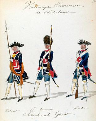 Oberst mit Sponton, Grenadier und Füsili