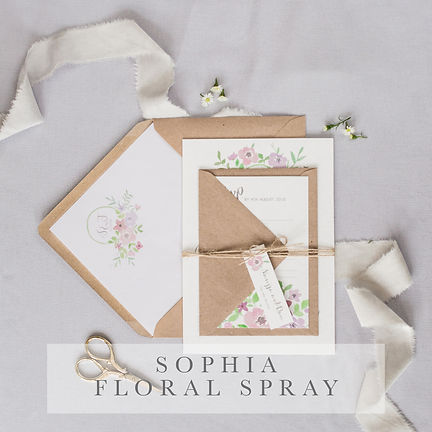 sophia floral spray invitation suite