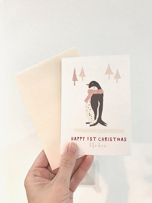 PEARL PENGUIN PERSONALISED CHRISTMAS CARD