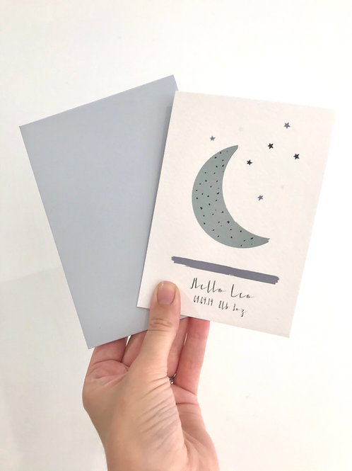 LUNA MOON PERSONALISED NEW BABY CARD (TEAL)