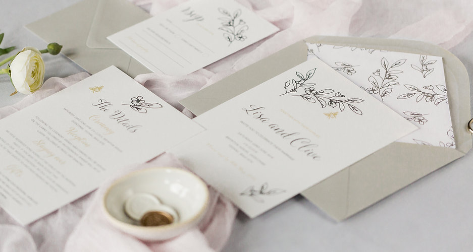 Blossom and Bee invitation suite