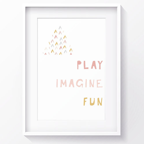 PLAY IMAGINE FUN PRINT (PINK)