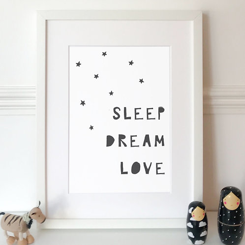 SLEEP DREAM LOVE PRINT (BLACK)