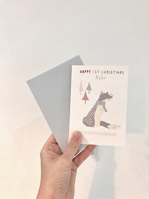 ARCTIC FOX PERSONALISED CHRISTMAS CARD