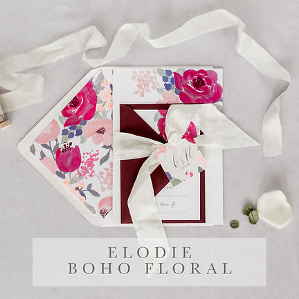 elodie boho foral invitation suite
