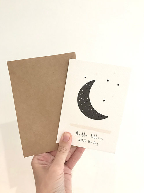LUNA MOON PERSONALISED NEW BABY CARD (BLACK)