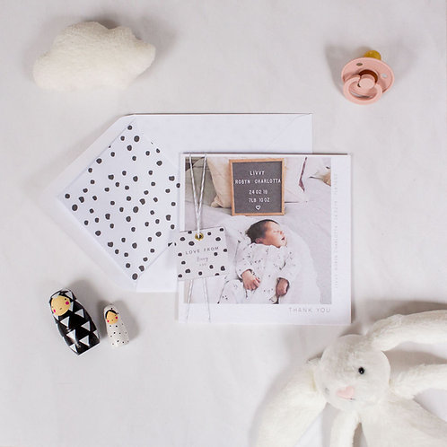 20 DOTTY BABY THANK YOU CARD