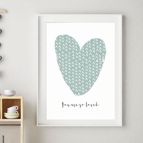 HARPER HEART PRINT (TEAL)
