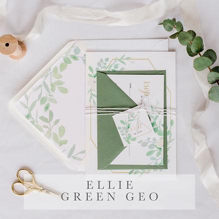 Ellie green geo invitation suite