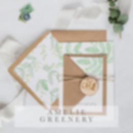 amelie green geo invitation suite