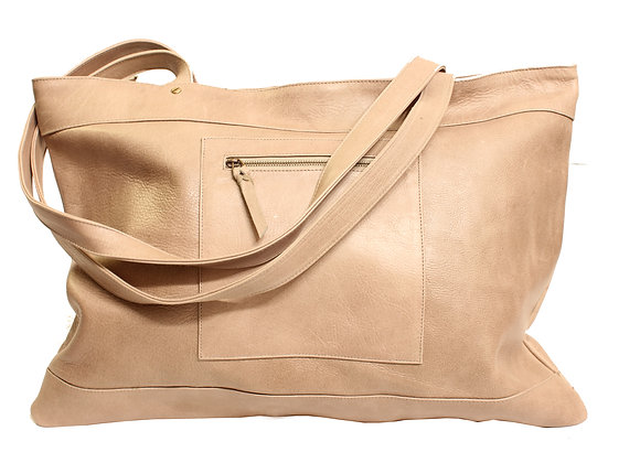 Cabas Oversize Downtown en cuir taupe