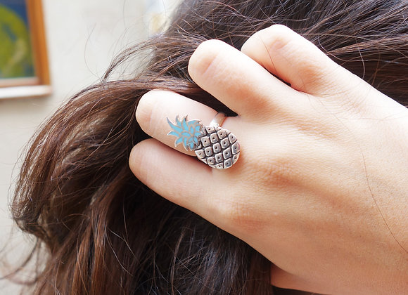 Bague Ananas Argent Turquoise