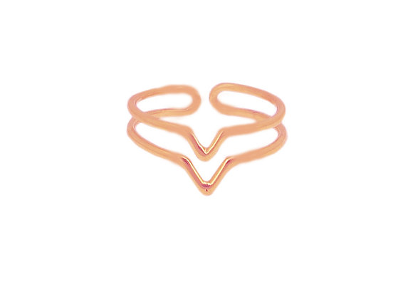 Bague de phalange Double V Or Rose