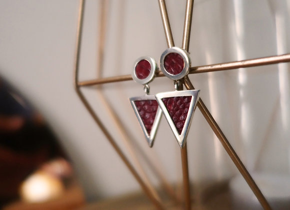 Boucle d'oreille Pendulum Argent rouge