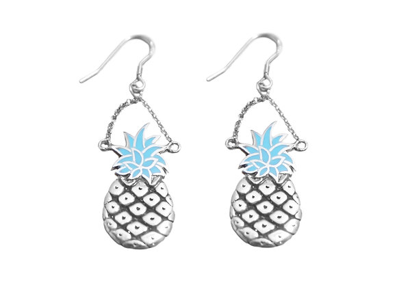 Boucle d'Oreille Ananas Argent Turquoise