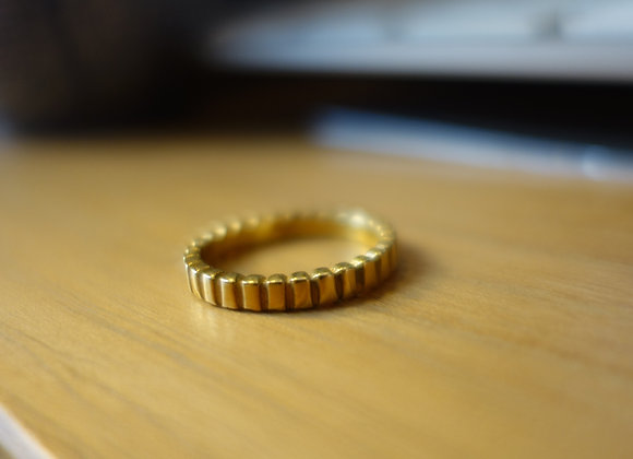 Anneau rectangle en argent doré à l'or fin