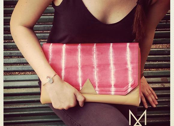 Pochette Graphique tie&dye corail en cuir