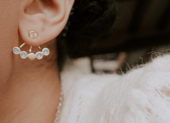 Boucles d'oreilles dessous de lobe Ellipsis Or Opale Bleu