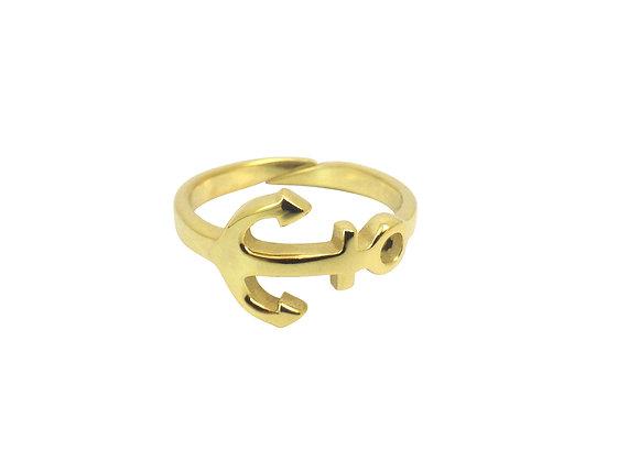 Bague Ancre marine en argent plaqué or