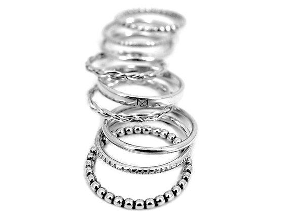 bague anneaux empilable semainier en argent massif bohemian chic