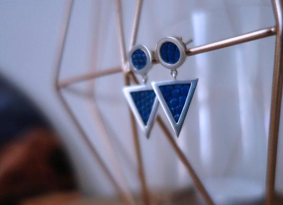 Boucle d'oreille Pendulum Argent Bleu