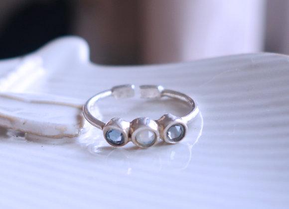 Bague Ellipsis opale/light saphire/silver shade Argent