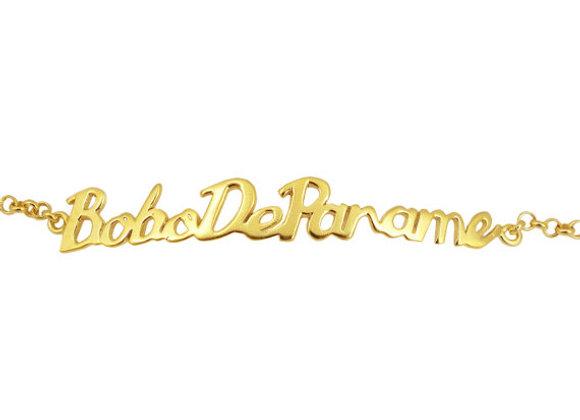 Bracelet écriture bobo de paname en vermeil