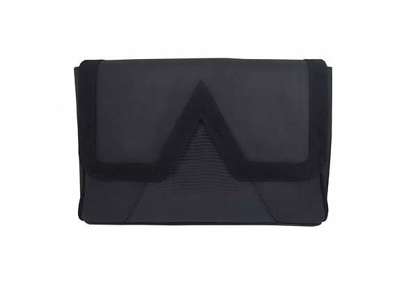 Sac besace rectangle V bag en cuir et lézard noir
