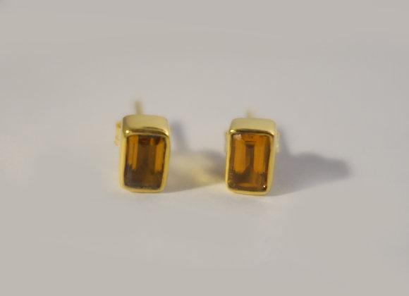 Boucle d'oreille Lingot Or citrine