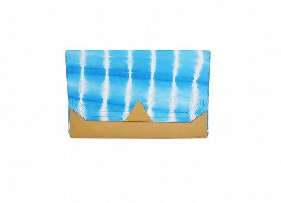 Pochette Graphique tie&dye turquoise en cuir