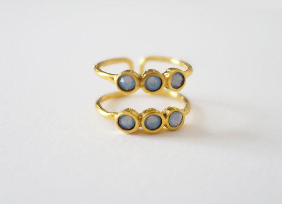 Bague Ellipsis Double Or opale bleu