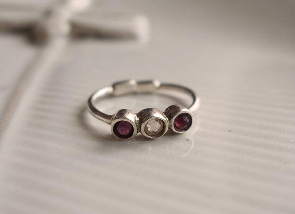 Bague Ellipsis burgundy/cristal/siam Argent