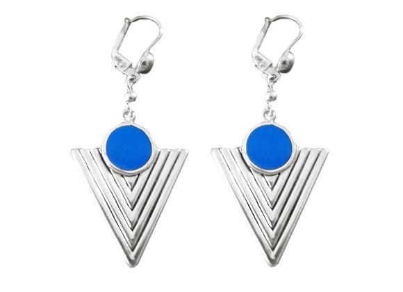 Boucle d'Oreille Navajo Argent bleu