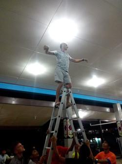 Ronny changing a light bulb!