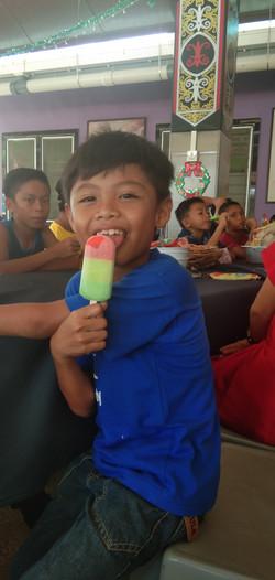 Everyone enjoying their icecreams