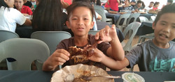 Enjoying some chicken!
