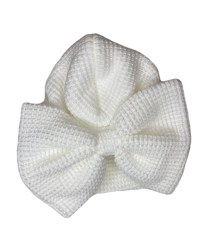 White Waffle Knitted Turban Hat