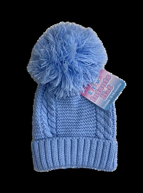 Blue Cable Knit Pom Pom Hat