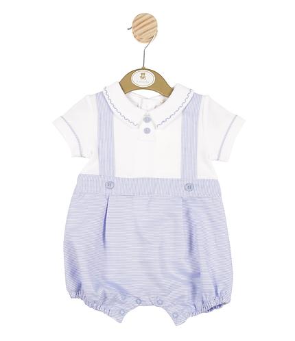 Blue & White Shirt Romper
