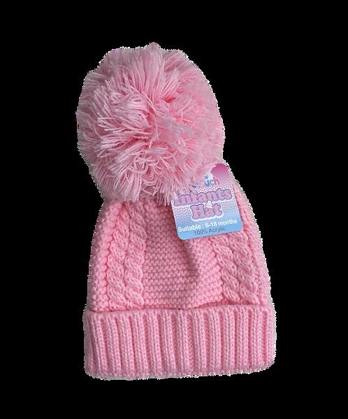 Pink Cable Knit Pom Pom Hat