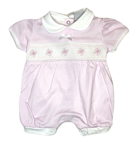 Pink Butterfly Smocked Romper