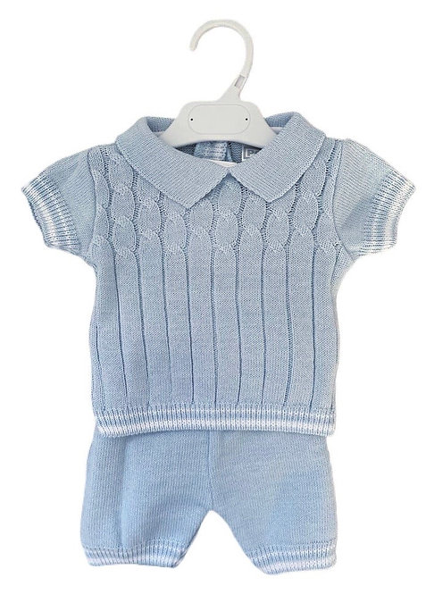 Blue Knitted Two Piece Set