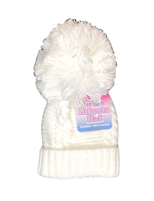 White Cable Knit Pom Pom Hat