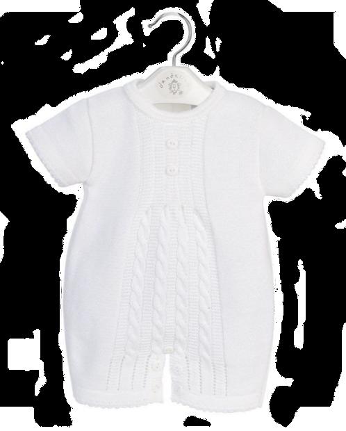 Unisex White Knitted Romper