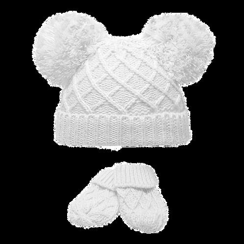 White Double Pom Pom Hat & Mitts