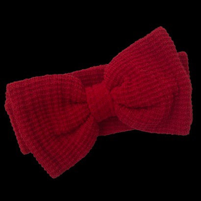 Red Waffle Knit Headband with Large Bow