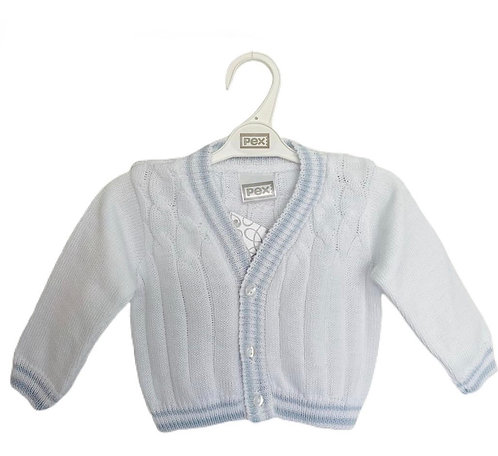 White & Blue Knitted Cardigan