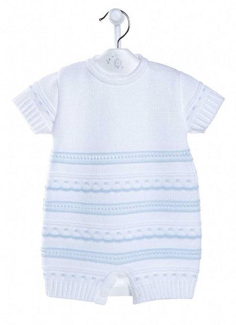 White & Blue Knitted Romper