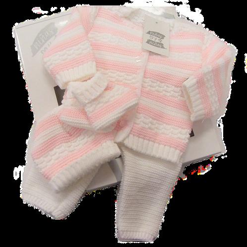 White & Pink Knit 4pce Box Set